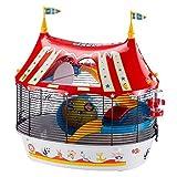 Ferplast Circus Fun Cage à 3 Étages Plastique Robuste et Métal, Ashésifs Colorés et Accessoires Inclus pour Hamsters, Souris et Petits Rongeurs 49,5 x 34 x 42,5 Noir