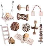 Joody 10 PièCes Ensemble Hamster Chew Jouets Naturel en Bois Gerbilles Rats Chinchillas Jouets Accessoires Rouleau Dents Soins Molaire Jouet pour Hamster